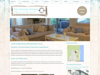Our Coolum Escape Website Design